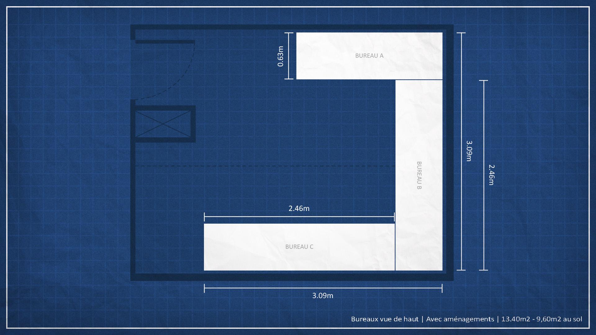 bureau avec plan de travail cheap bureau dans chambre. Black Bedroom Furniture Sets. Home Design Ideas